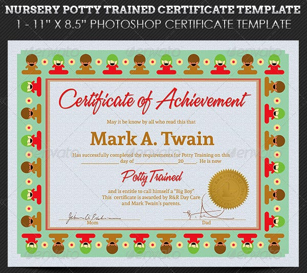 Training certificate template 21 free word pdf psd format nursery potty trained certificate template yadclub Images