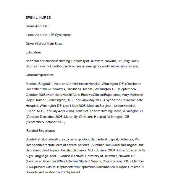 nursing tutor resume word download