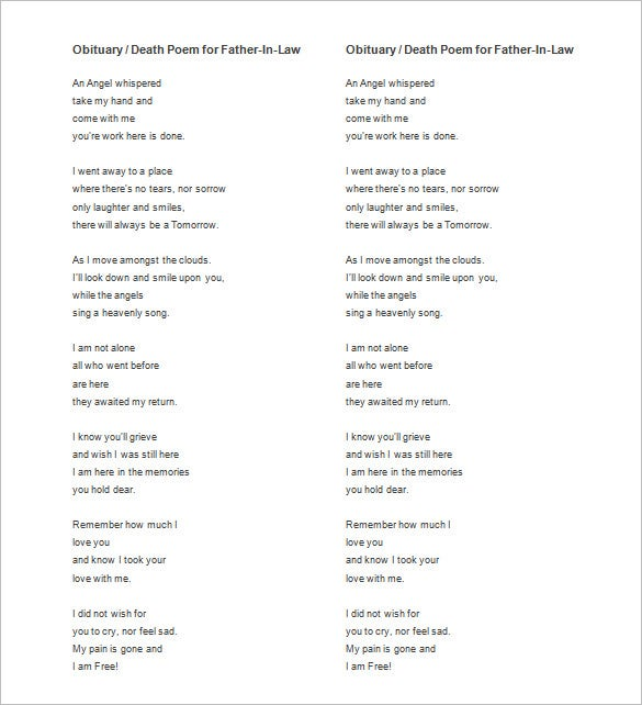 obituary death poem for father in law