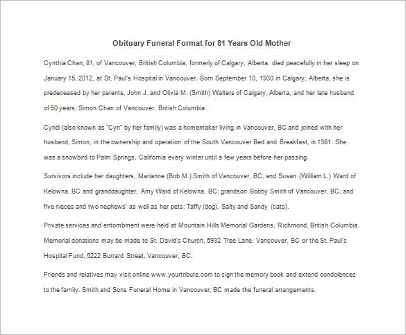 obituary funeral format for 81 years old mother