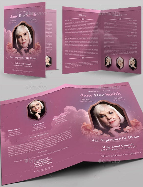 obituary funeral program full page bi fold template