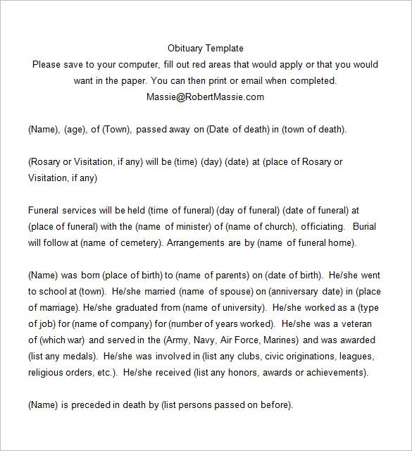 Death notices 35 free printable word excel pdf format for Obituary guide template