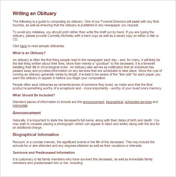 Obituary Writing Template   Free Word Excel Pdf Format