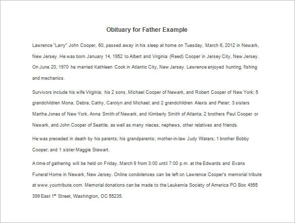 obituary for father example