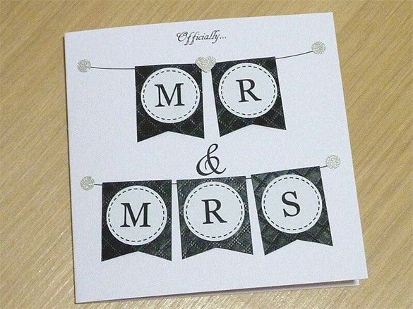officially mr mrs wedding congratulations card