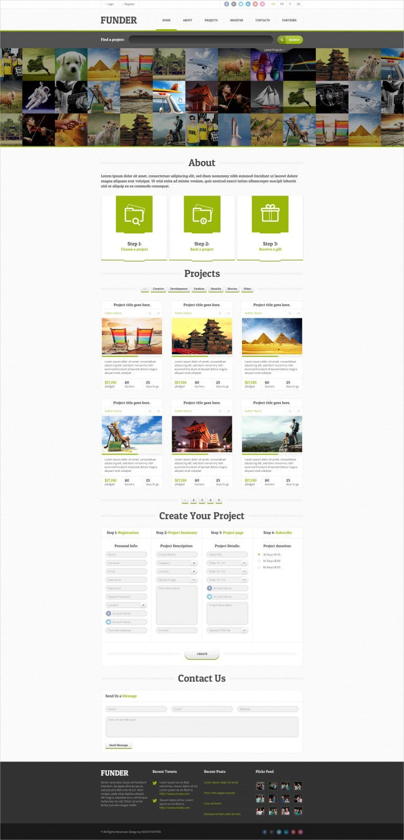 One Page Crowdfunding PSD Template