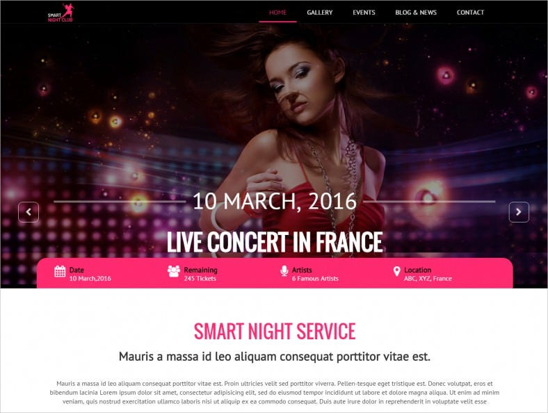 One Page HTML Template For Night Club