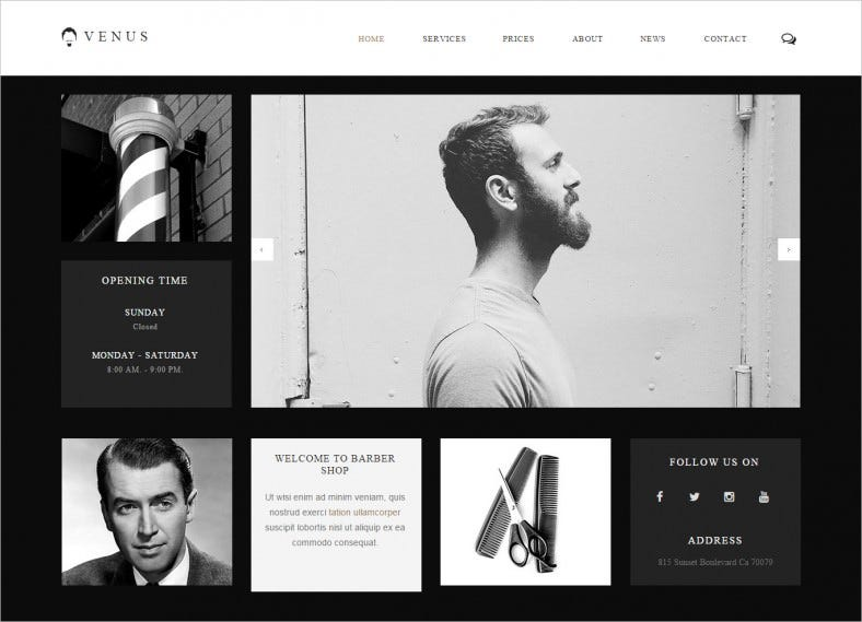 One Page Template for Hair Salon & Barber Shop