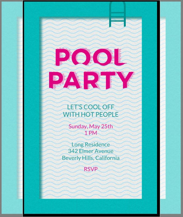 Online Editable Pool Party Invitation Card Template  Gathering Invitation Sample