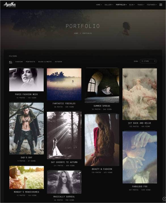 online photography portfolio website template1