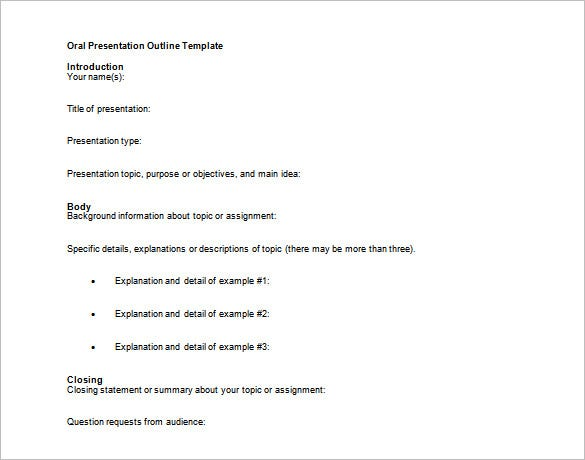 oral presentation outline template example
