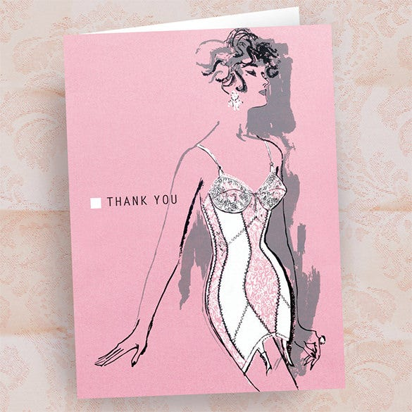 out standing fashion thank you card