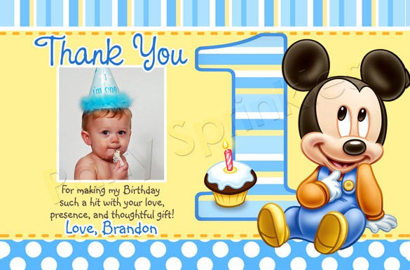 20  Mickey Mouse Thank You Cards – Free Printable PSD EPS Format ...