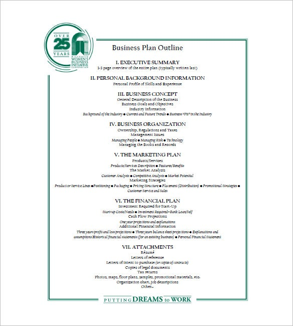 Business Plan Outline Template Free Word Excel PDF Format - Business plan outline template free