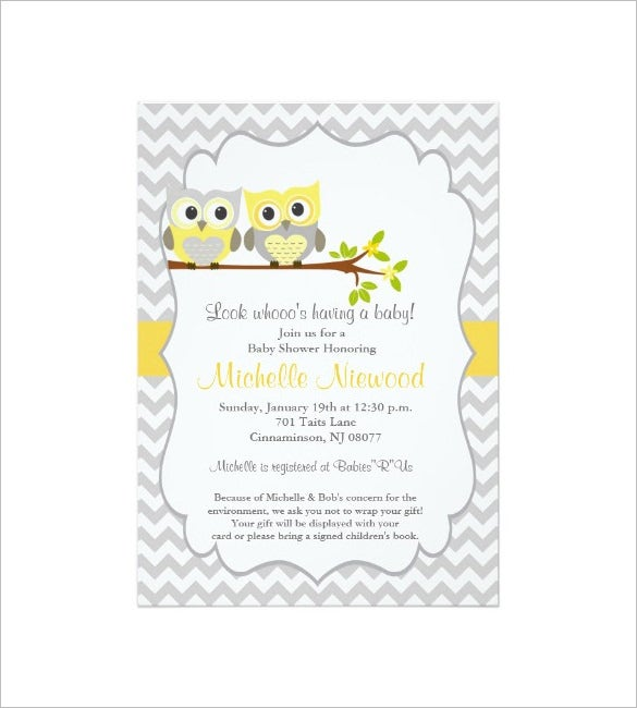 owl baby shower invitation card template