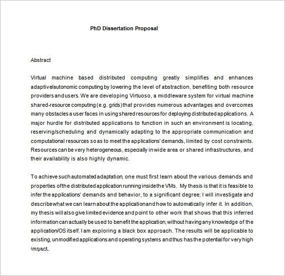 phd dissertation proposal template free download