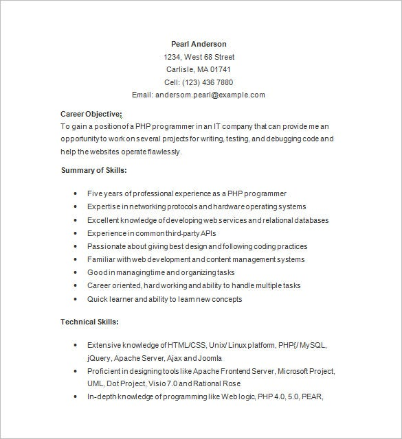php programmer resume template