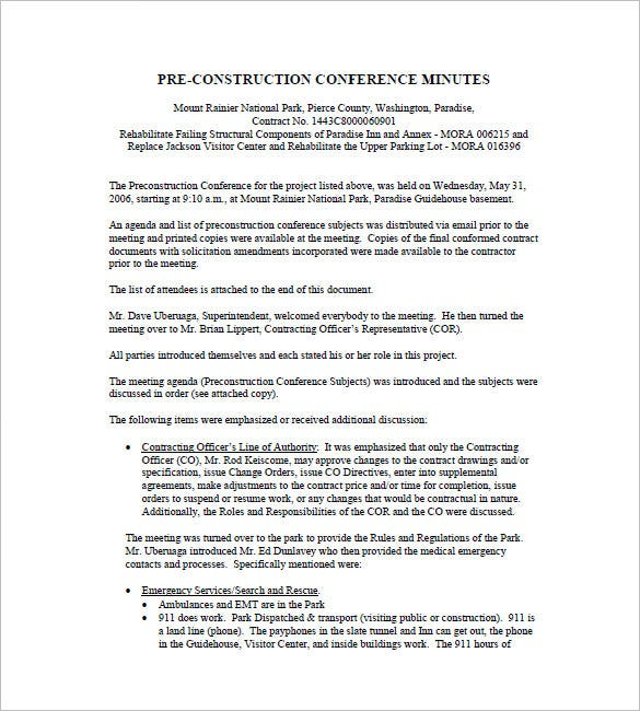 pre construction conference minutes