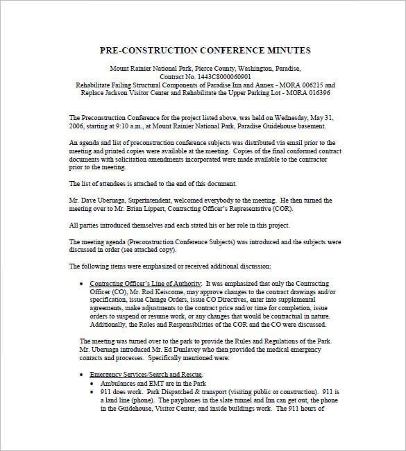7 construction meeting minutes templates doc pdf. Black Bedroom Furniture Sets. Home Design Ideas