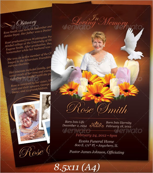 psd funeral program obituary template download