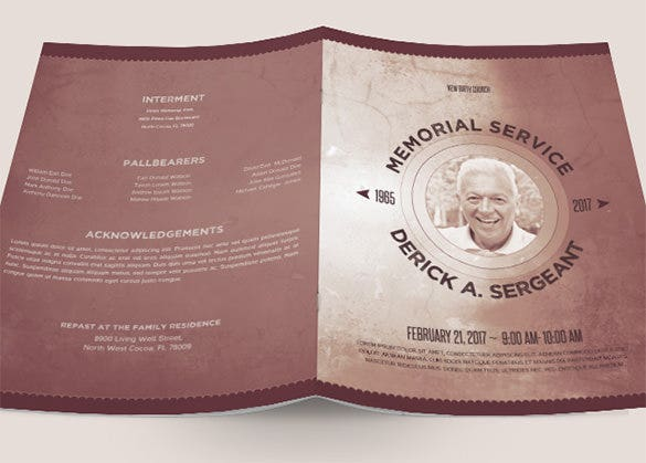 Charming PSD Funeral Program Template For Father