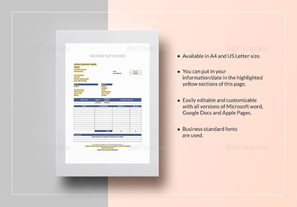 packaging slip invoice template1
