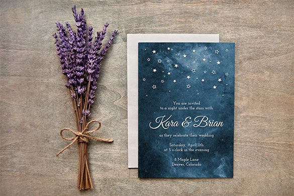 painted starry night wedding invitation card template