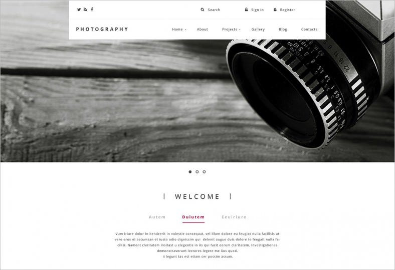 Parallax Effect Drupal Template for Photography