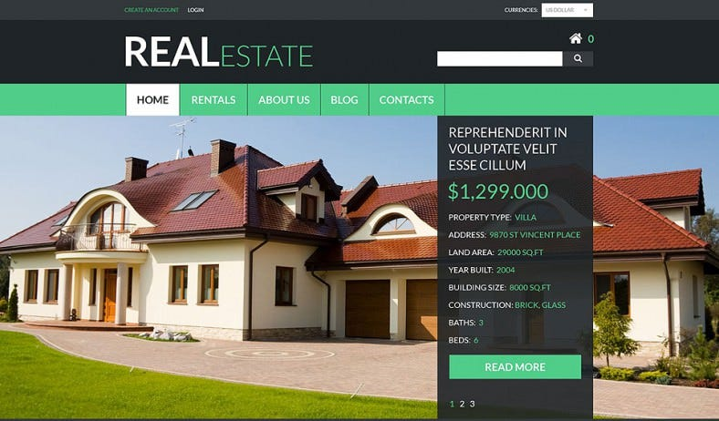 Parallax Effect VirtueMart Template for Real Estate Services