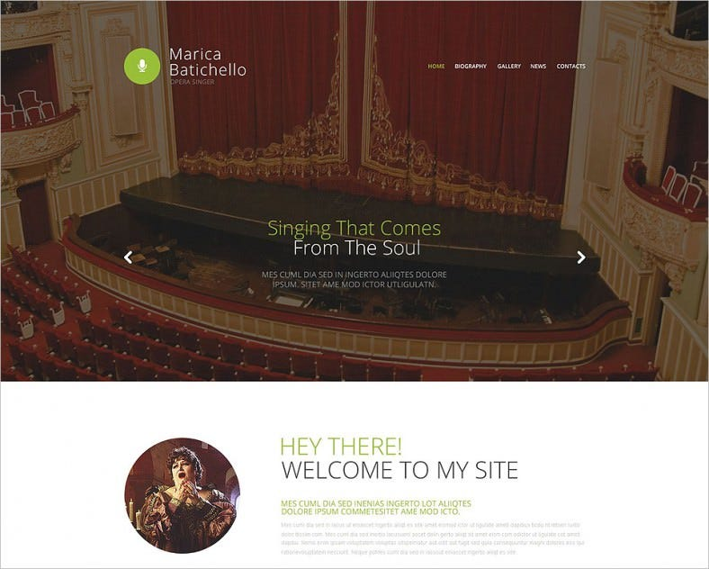 Parallax Effect Website Template for Opera Singer