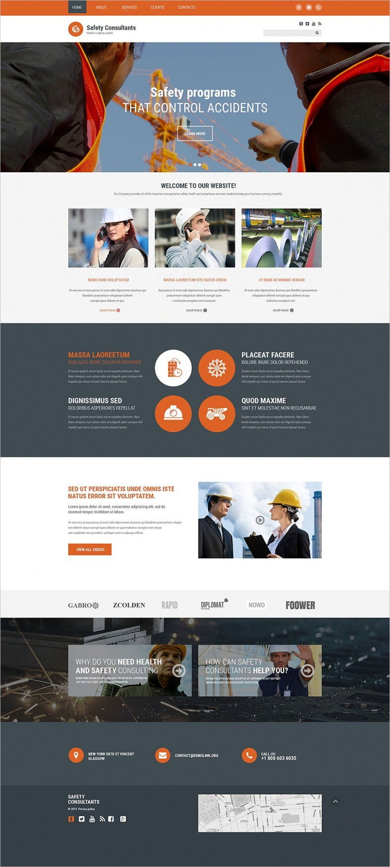 Parallax Effect Website Template for Safety Consultant