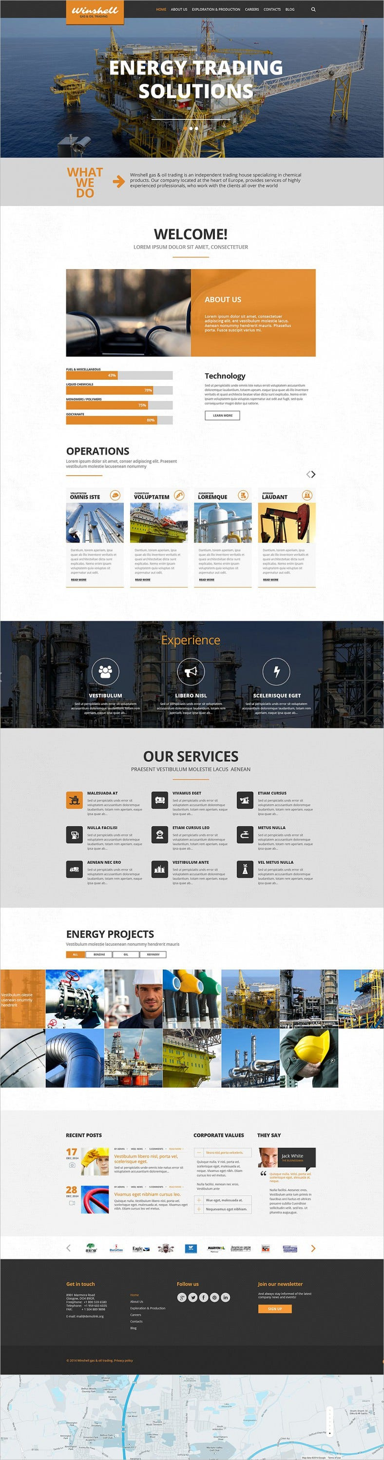 Parallax Scrolling Wp Theme for Gas and Oil Trading website