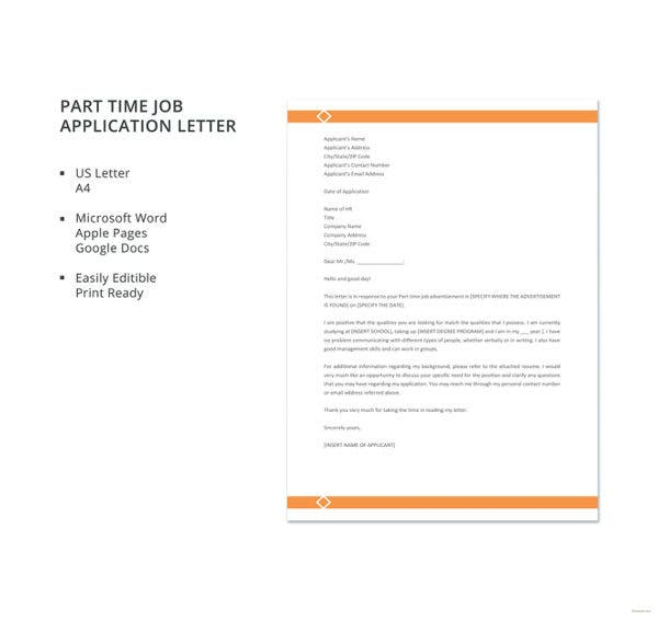 part time job application letter template