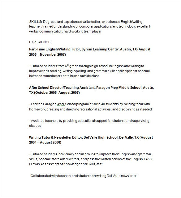 Sample Tutor Resume