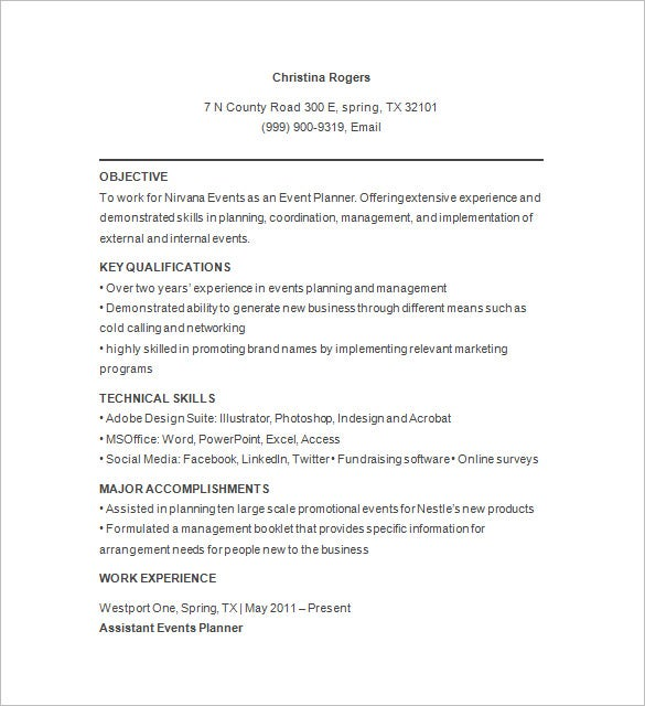 event planner functional resume sample party objective examples