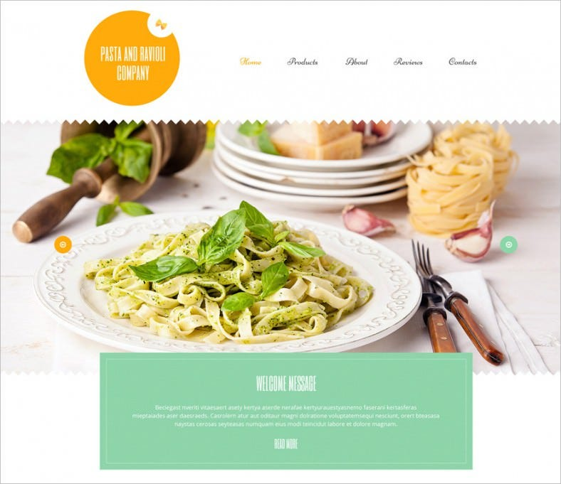 pasta and ravioli company wordpress theme 788x681