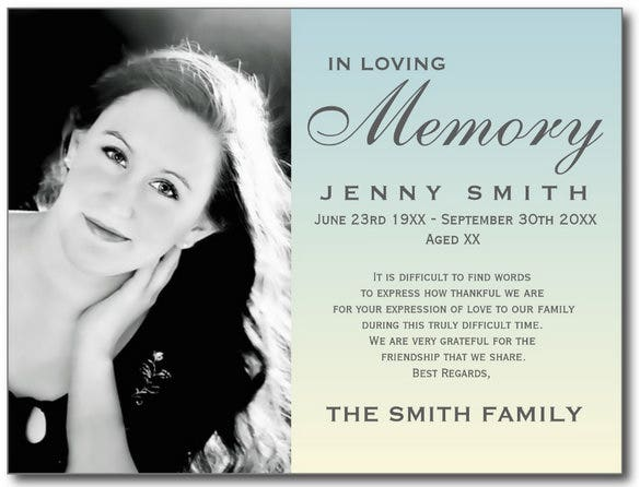Obituary Card Templates  Free Printable Word Excel Pdf Psd