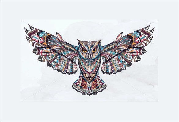 patterned owl on the grunge tattoo design1