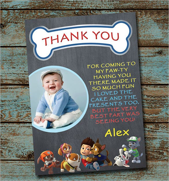 paw patrol birthday thank you card