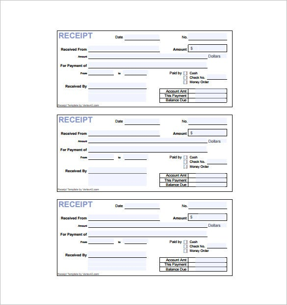 Invoice Receipt Template 15 Free Word Excel PDF Format – Sample Receipt of Payment Template