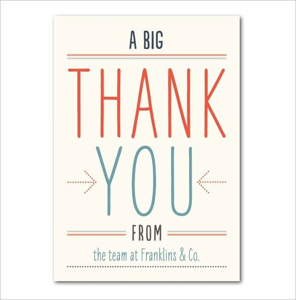 17 Business Thank You Cards Free Printable PSD EPS Format – Business Thank You Notes