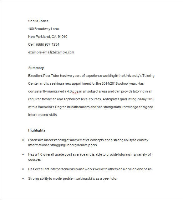 peer tutor resume example - Math Tutor Resume