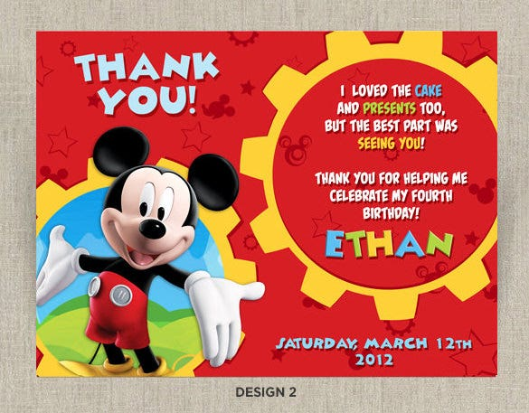 20 Mickey Mouse Thank You Cards Free Printable PSD EPS Format – Thank You Card Templates Free Download