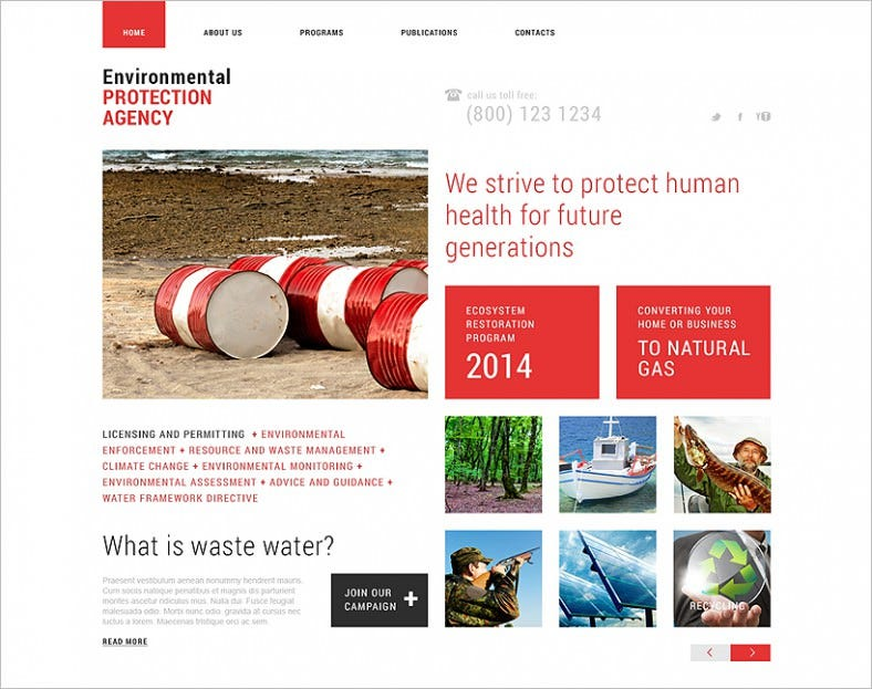 Perfect Responsive Website Template for Environmental