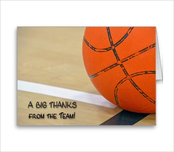 perfect sports thank you card
