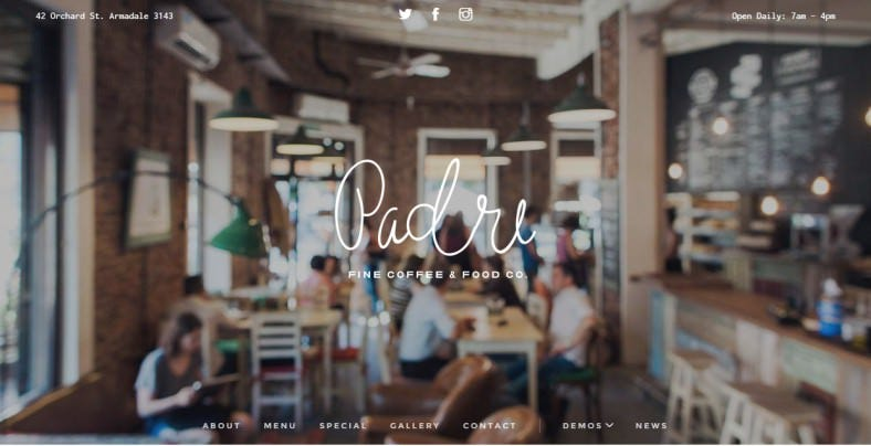Perfect Website Template for Cafe & Restaurant