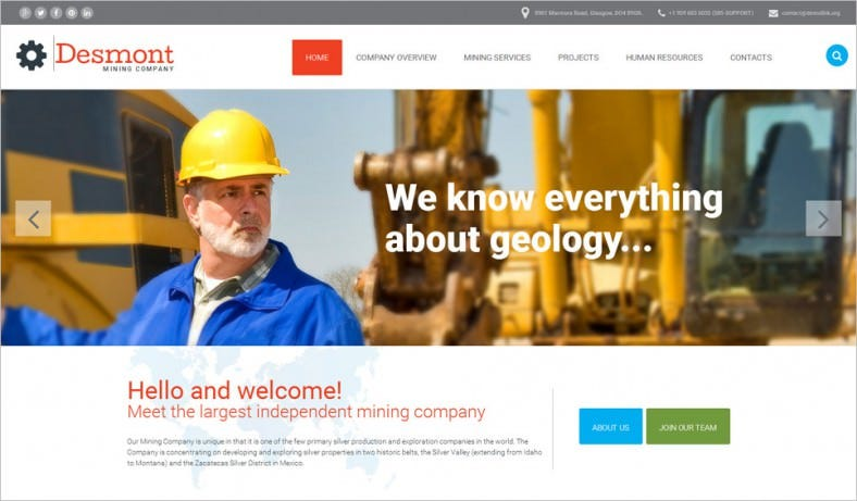 Perfect Website Template for Mining Industry