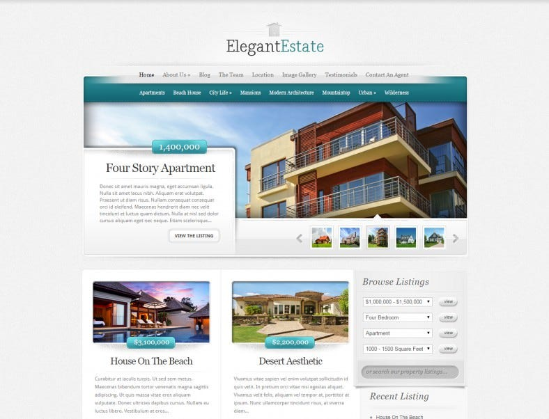 Perfect WordPress Template for Real Estate