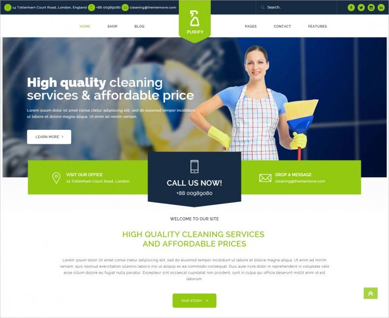 16 cleaning company wordpress templates themes free premium templates. Black Bedroom Furniture Sets. Home Design Ideas