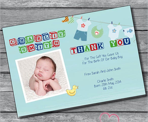Baby Thank You Cards Free Printable PSD EPS Indesign Format - Card template free: birth announcement thank you cards